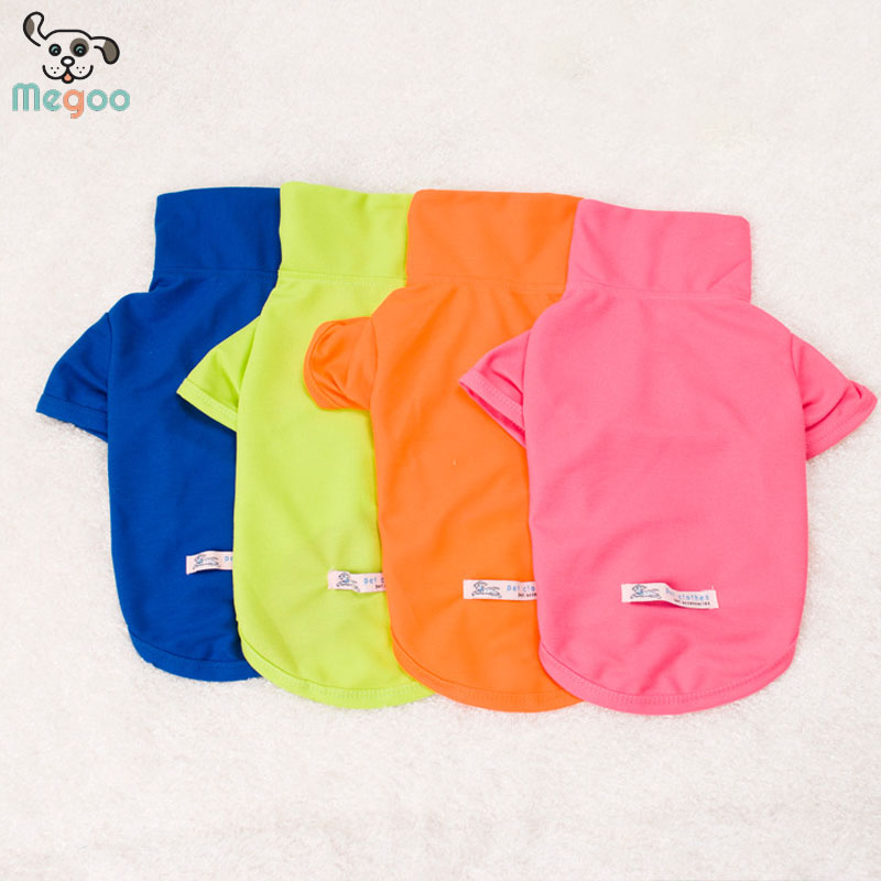 Cute Candy Color Dog Polo Shirt Pure Cotton Blank Pet Clothes