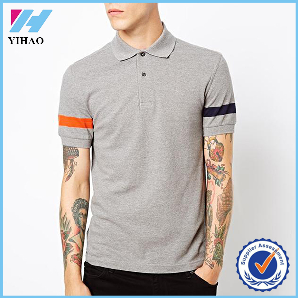 Yihao 2015 summer new arrival men polyester/cotton striped sleeve polo shirt custom plain golf polo t shirt