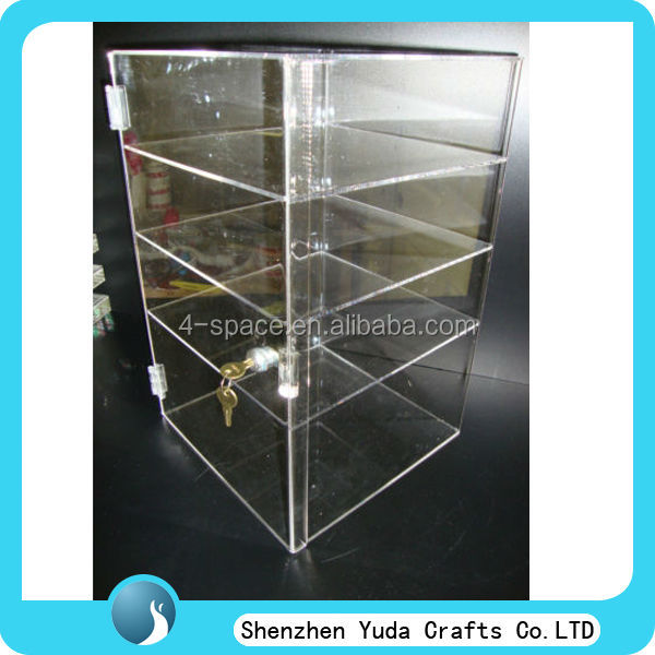 clear acrylic locking display cabinet 4 tier acrylic shelf liquor display locking shelves display