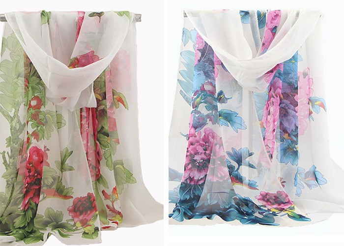 2017 Chinese Style Subshrubby Peony flower Print Summer Chiffon Scarf