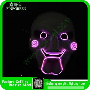 Popular wholesale finegreen factory Led Light Up Party Supplies Half Skull Led Mask
