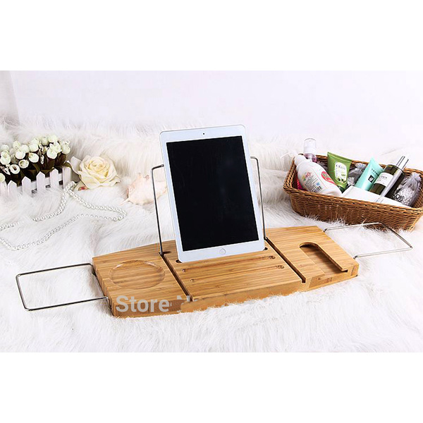 Fuboo--Bamboo bathtub caddy with extending sides and adjustable book holder
