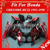 CBR250RR MC22 91-98 fairing for HONDA CBR250RR MC22 1991-1998 bodykit 91 92 93 94 95 96 97 98 cbr250 bodywork black red flame