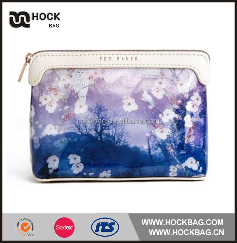 Best Selling sublimation low price OEM women lady canvas coated waterproof cosmetic bag /travel cosmetic pouch