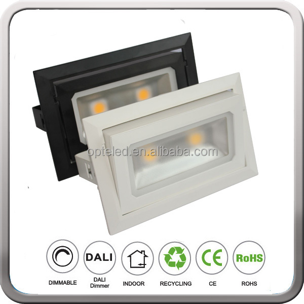 Cutout:L225*130 mm 4000lm square rotating led cob ceiling downlight 40W for Shop Shoes Store with 3 years warranty