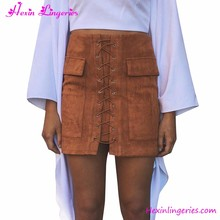 Lace Up Suede Leather Knee High Short Pencil Skirt in Brown