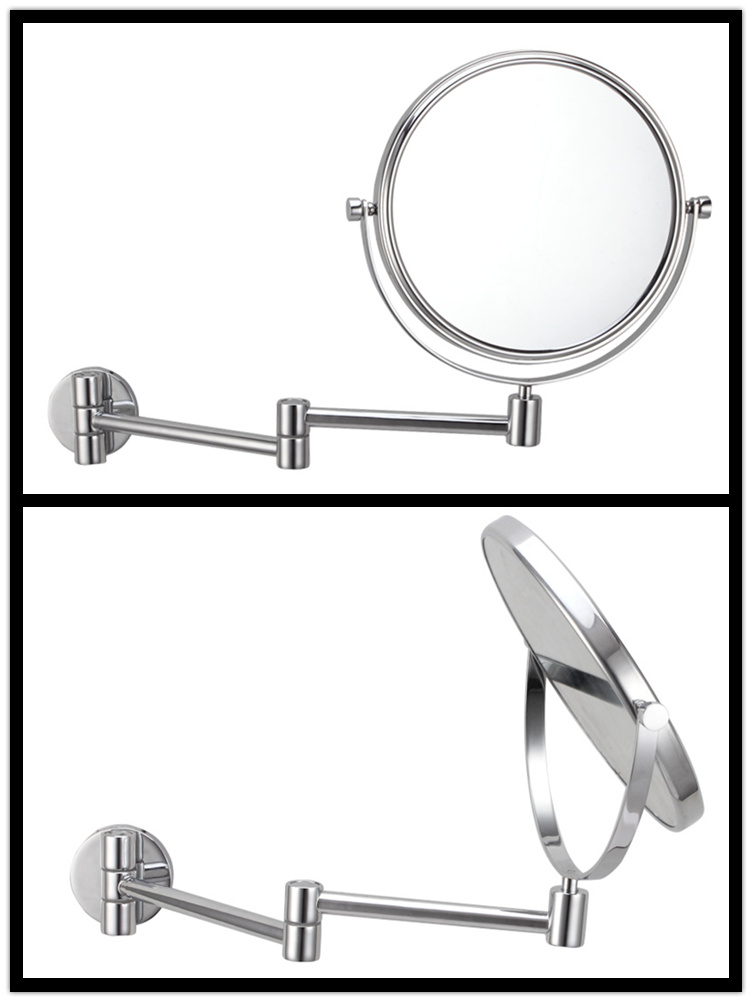 Simple design wall mount double sides round makeup mirror