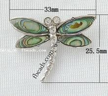 2015 wholesale 25.5x33x8mm abalone shell dragonfly pendant