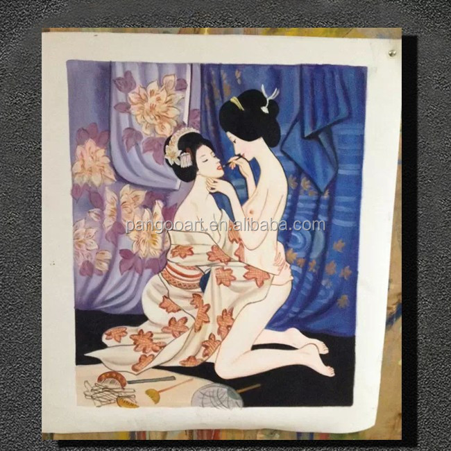 Sexy beauty japanese woman nude painting