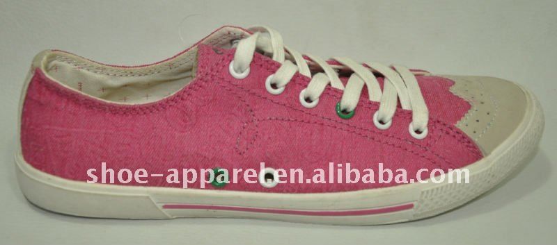 fashion pink canvas shoes for ladies