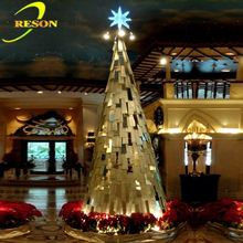 China supplier led lights hang ribbon christmas tree