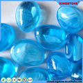 Alibaba express sky blue luminescent glow in dark glass pebble,garden white pebble,polished mix color river pebble