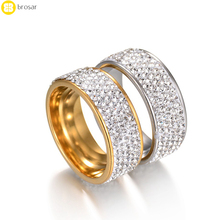 Wholesale Austrian Crystal Rhinestones Studded Finger Rings Gold Wedding Ring
