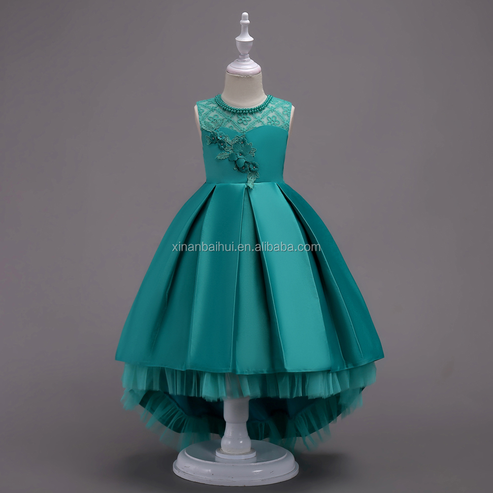 Western style Flower Girl wedding  gown    3-D Embroidered Little Princess party  dress    Formal  kid frock for performance