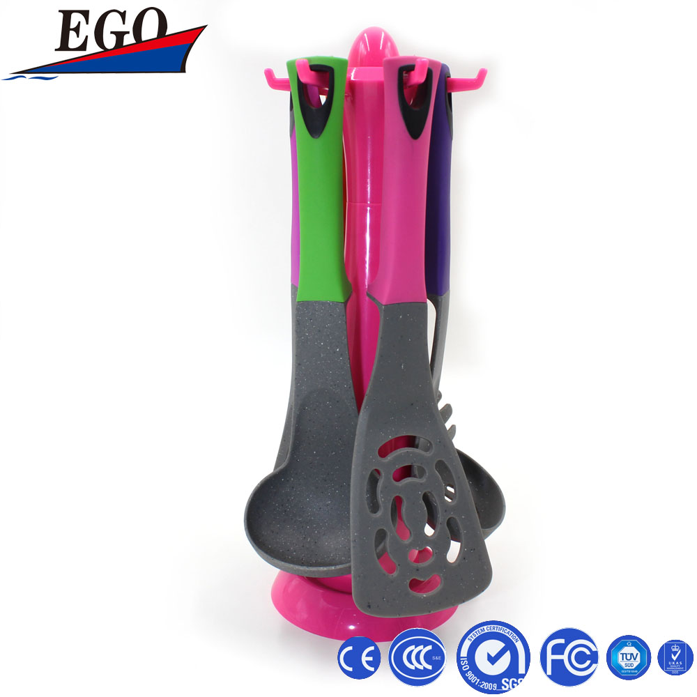 Kitchen Utensil Set 6pcs colorful Nylon Cooking tools with rubber handle