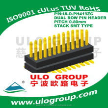 Pin Header Male Connector For PCB 2*20 Pole Gold-Plated Dual Row Stack SMT Typr Picth 0.8mm ULO Group