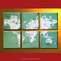 Modern Handmade World Map Abstract Painting Design On Canvas