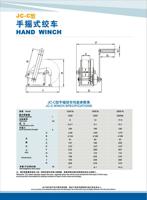 CE Proved JC-C industrial hand winch with cable wire and hook