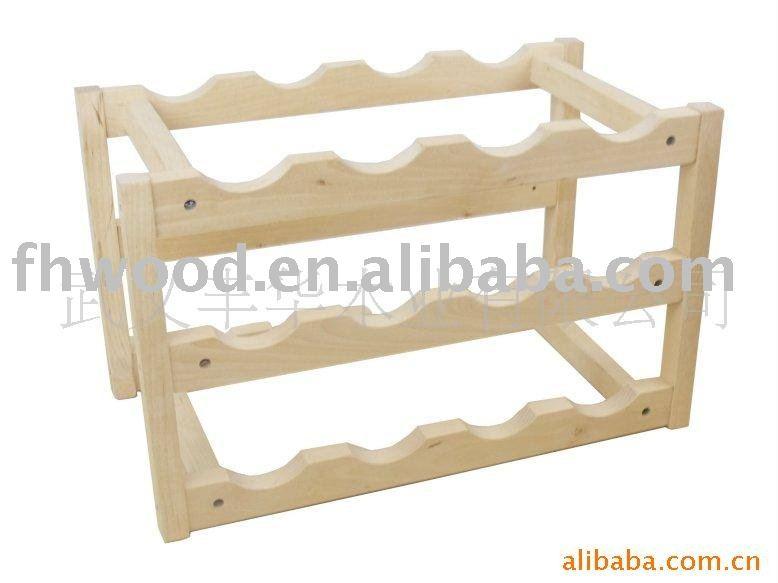 Organizador De Baño De Pino:de madera de pino del estante del vino 9 botella-Cubos, refrigeradores