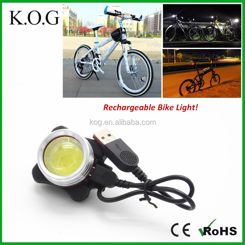 USB Charging Super Bright COB LED Bike Light with Focus Light