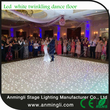 white and black led starlit dance floor with flight case packing