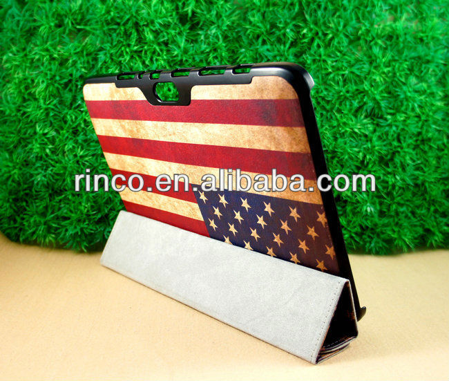 "Retro US Flag Stand Leather Case for Samsung Galaxy Note 10.1"" N8000 Case"