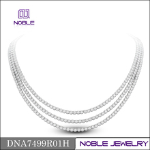 Three circles high quality diamond 18K white gold necklace