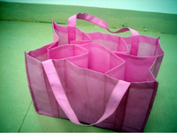 reuseable non woven wine tote bag wholesale for 6 bottle / folding wine tote bag