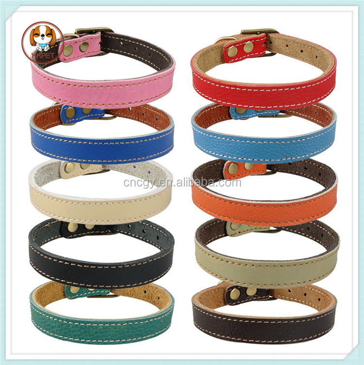Colorful Handmade Real Leather Dog Pet Puppy Collars Neck For 7-14""
