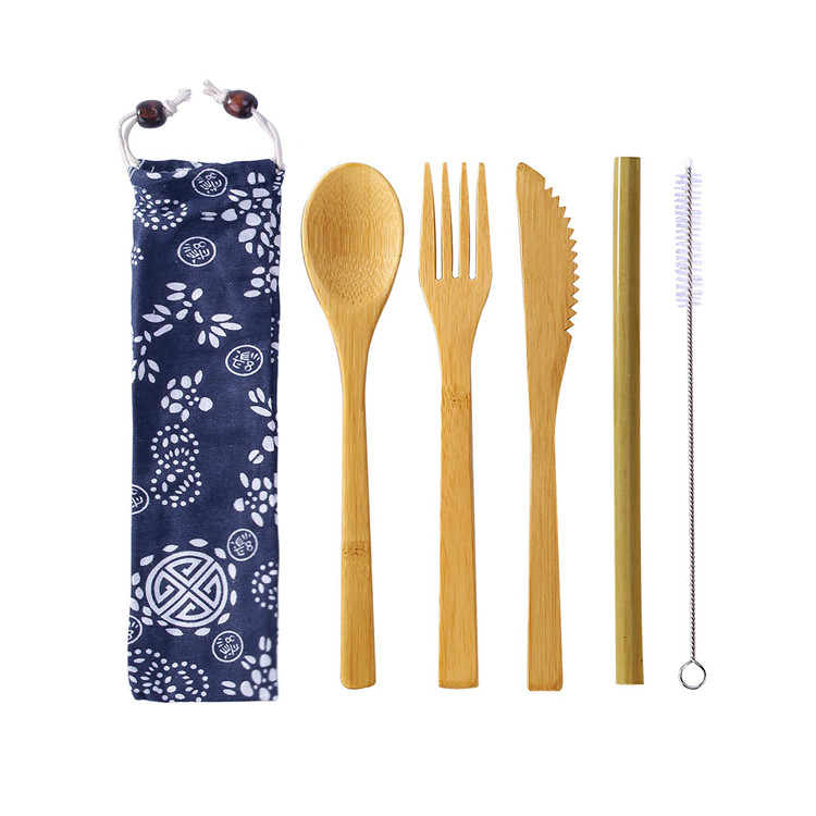 ECO Friendly Reusable 100% Natural Organic Bamboo Flatware Cutlery <strong>Set</strong> With Travel Portable Bag Pouch
