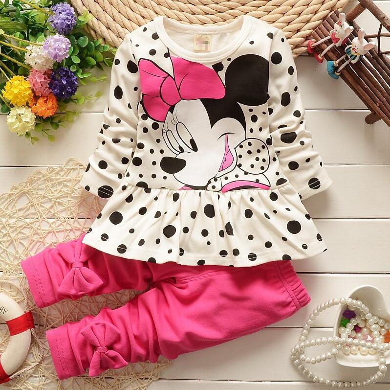 New Arrive Kids Girls Clothing Set Minnie Tops + Pants Cotton Baby Girls Suits Set Autumn Korean Children Girl Clothes Retail