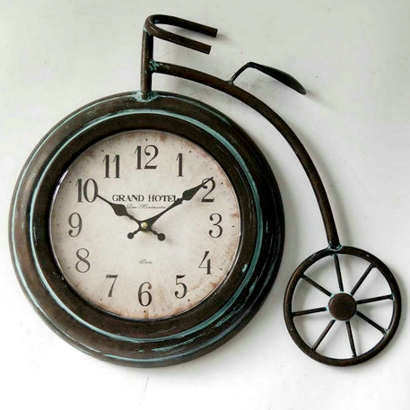 Vintage antique bicycle design metal wall clock decor