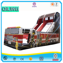 2016 QiLing Hot sale amusement park games factory price outdoor playground fire truck inflatable slides for kids and adults