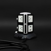 Tabletop 2 layers 7 ways 2 usb multiple extension socket with surge protector and 6ft VDE cord