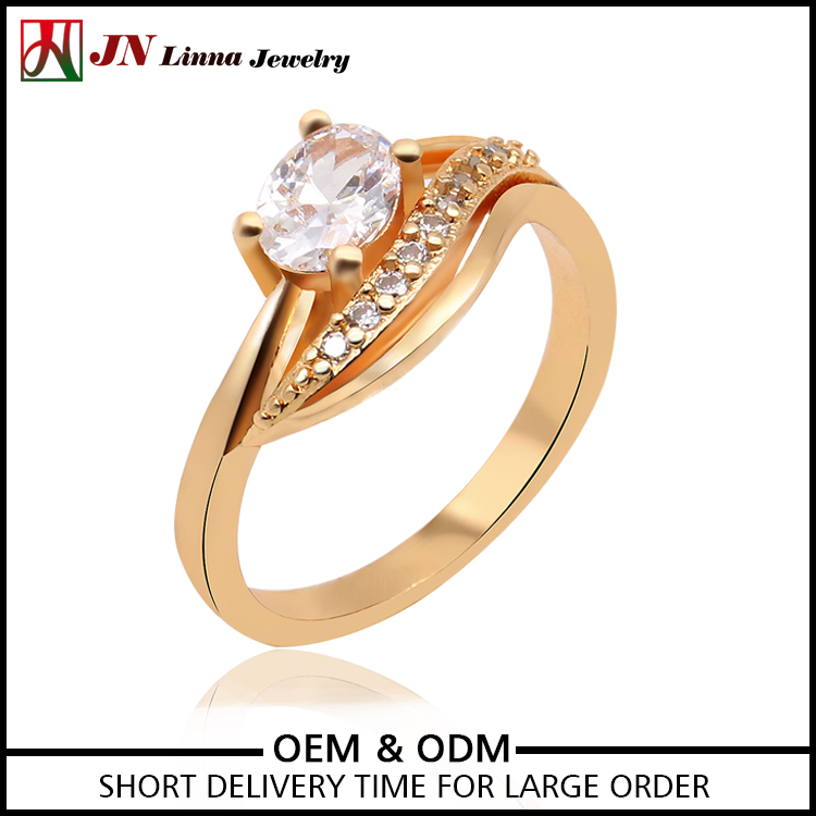 JN4023 New Good Quality gold plated copper brass big stone ring designs for women