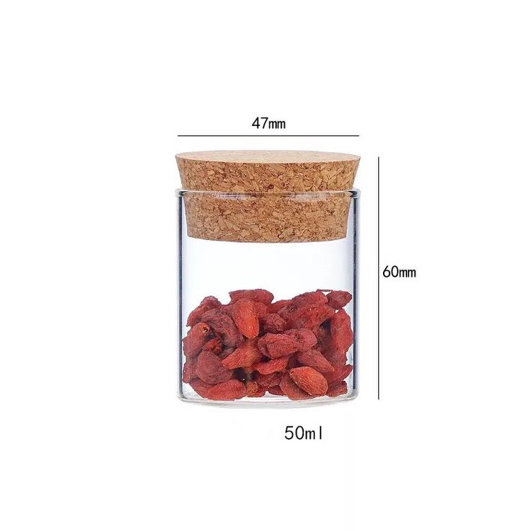 5oz 47*110mm 150ml pyrex glass jar with wooden cork lid