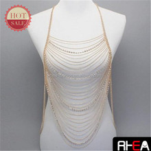 Wholesale Newest Gold Jewelry Body Chain Sexy Ladies Swimdress Single Belly Chain With Crystal /Infinite Alloy Charm