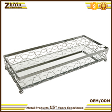 Hot sale silver chrome plated metal frame bathroom desktop rectangular MIRRORED TRAY China factory