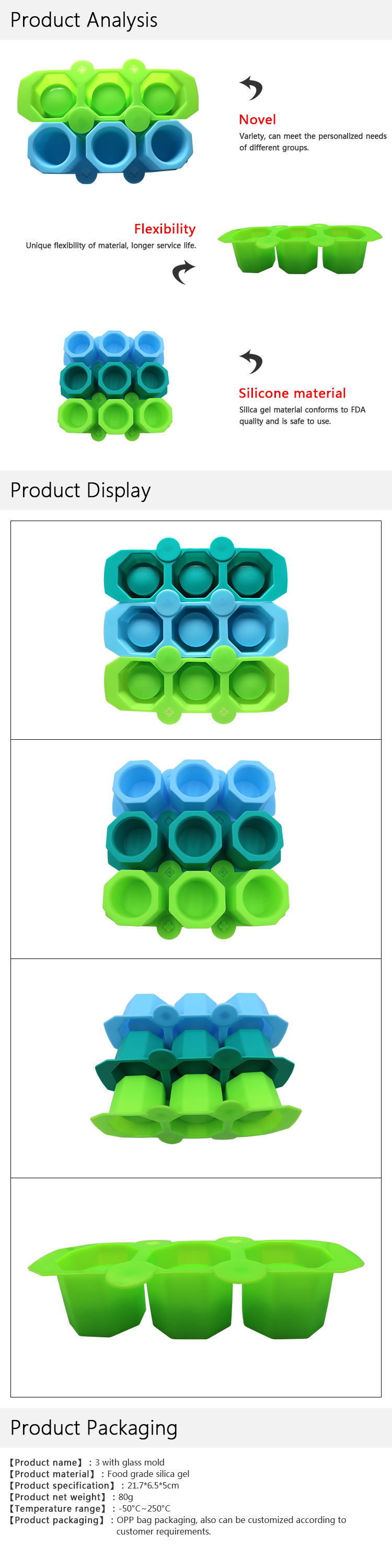 FDA Approval Custom Logo  3 Cavities Ice Cup Mould Cream Cup Ice