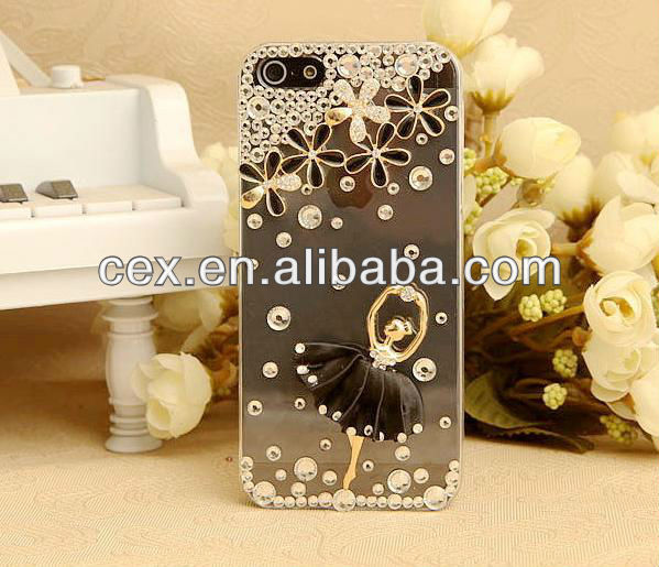 Elegant Ballet Dancer Crystal Bling Rhinestone Diamond PC Plastic Hard Case Cover for iPhone 5C