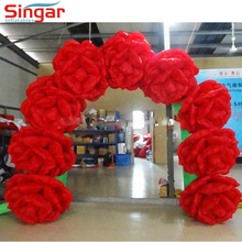 Red inflatable rose flower arch foldable wedding decoration