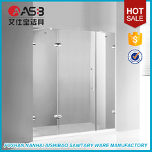 for showering hinged 10mm Tempered Glass folding bath tub screen