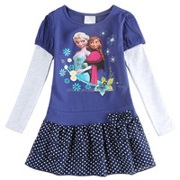 1-6 years old baby girl dress made of cotton and spandex with cartoon people