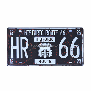 Wholesale Custom Embossed Route 66 Hot Rod Wall Hanging Metal Tin Sign