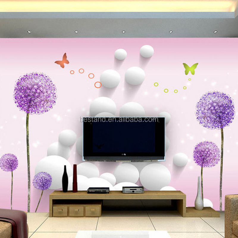 Factory Price Popular Dandelion Flower 3D Wall Mural for Room Decoration