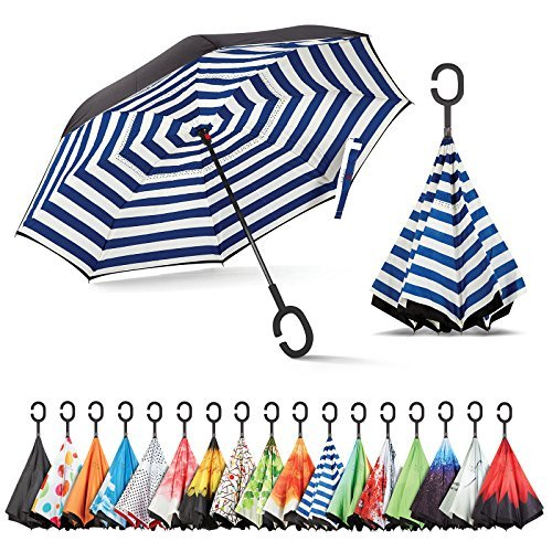 Hot Selling Stock Custom Double Layer Inside Out C Shape Handle inverted Reverse Umbrella with logo printed