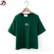 Cheap Korea Style Simple Oversized Tshirt Crew Neck Pure Cotton Short Sleeve T Shirt Women Summer Clothes Tops