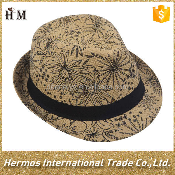Summer printed man paper straw fedora hat with black ribbon band