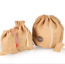 Hot new design linen round jute bag/burlap bags with round bottom for gifts packaging