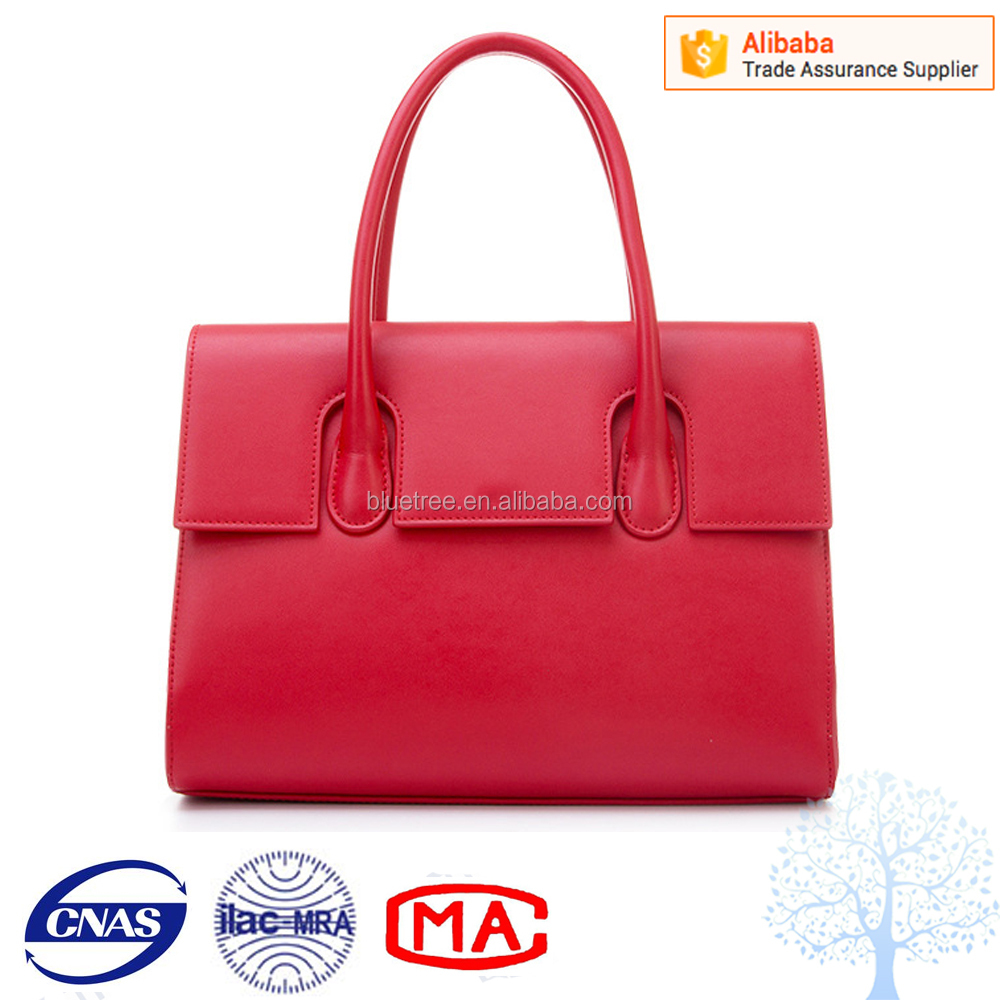 Chinese red high quality plain leather tote bag for ladies